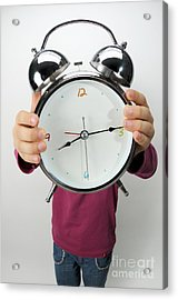 Girl Holding Alarm Clock Over Face Acrylic Print by Sami Sarkis