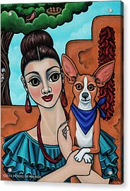 Girl Holding Chihuahua Art Dog Painting  Acrylic Print