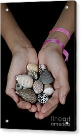 Girl Holding Shells In Clasped Hands Acrylic Print by Sami Sarkis
