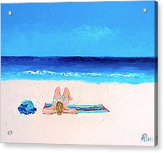 Girl In A Blue Bikini Beach Painting Acrylic Print
