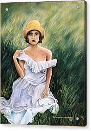 Girl In A Field Of Grass Acrylic Print by  Gayle  Hartman