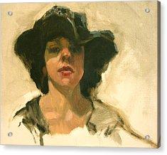 Girl In A Floppy Hat Acrylic Print by Merle Keller