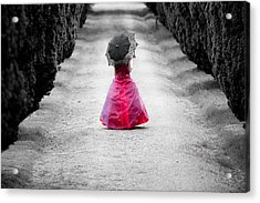 Girl In A Red Dress Acrylic Print by Helen Northcott