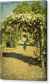 Girl In A Rose Garden Acrylic Print by Elaine Teague