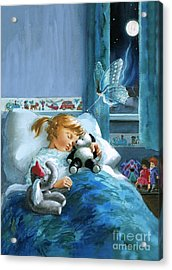 Girl In Bed Attended By Fairy Acrylic Print