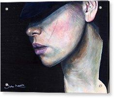 Girl In Black Hat Acrylic Print