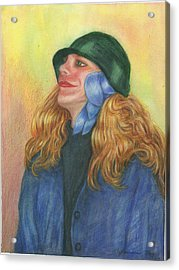 Acrylic Print featuring the painting Girl In Blue Ribbon by Jeanne Kay Juhos