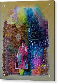 Girl In Front Of The Break Wall. Acrylic Print by Sima Amid Wewetzer