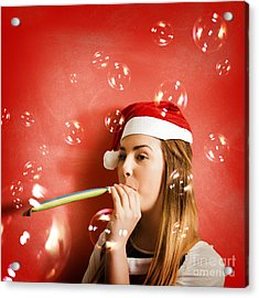 Girl In Fun Red Christmas Celebration Acrylic Print by Jorgo Photography - Wall Art Gallery