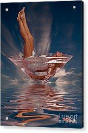Girl In Martini Glass C150508 Acrylic Print by Rolf Bertram
