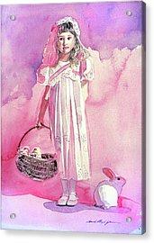 Girl In Pink Acrylic Print by David Lloyd Glover