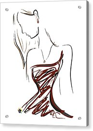 Girl In Red Acrylic Print