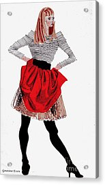 Girl In Red Skirt Acrylic Print by Genevieve Esson