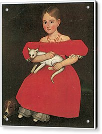 Girl In Red With Her Cat And Dog Acrylic Print by Ammi Phillips