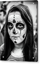Acrylic Print featuring the photograph Girl In Skull Facepaint by John Williams