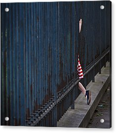 Girl In Striped Red Dress Acrylic Print