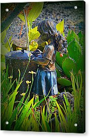 Acrylic Print featuring the photograph Girl In The Garden by Lori Seaman