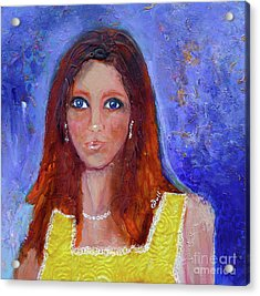Acrylic Print featuring the painting Girl In Yellow Dress by Claire Bull