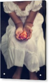 Girl Is Holding A Heart Acrylic Print by Joana Kruse