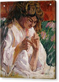 Girl Mending Acrylic Print by Roderic OConor