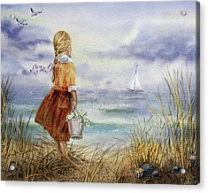 Girl Ocean Shore Birds And Seashell Acrylic Print