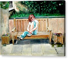 Girl On A Bench Acrylic Print by G Cuffia