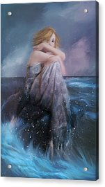 Girl On A Rock Acrylic Print by Hazel Billingsley