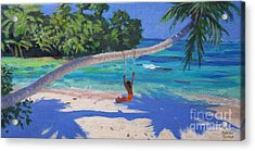 Girl On A Swing, Seychelles Acrylic Print by Andrew Macara