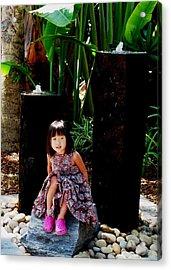 Girl On Rocks Acrylic Print
