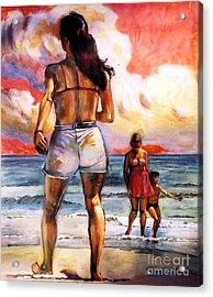 Girl On The Beach Acrylic Print by Stan Esson