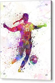 Girl Playing Soccer Football Player Silhouette Acrylic Print by Pablo Romero