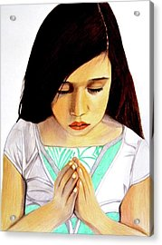 Girl Praying Drawing Portrait By Saribelle Acrylic Print by Saribelle Rodriguez