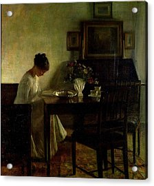 Girl Reading In An Interior  Acrylic Print