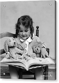 Girl Reading Storybook, C.1930s Acrylic Print by H. Armstrong Roberts/ClassicStock