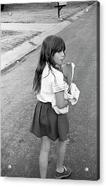 Girl Returns Home From School, 1971 Acrylic Print