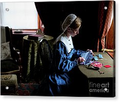 Girl Sewing Acrylic Print