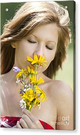 Girl Smelling Flowers Acrylic Print