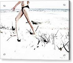 Girl Walking On Beach Acrylic Print