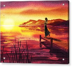 Girl Watching Sunset At The Lake Acrylic Print