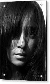 Girl Who Hid Behind Her Hair Acrylic Print by Maria Isabel Garcia