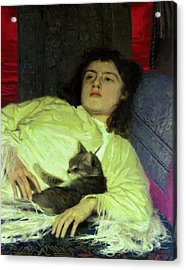 Girl With A Cat 1882 Acrylic Print