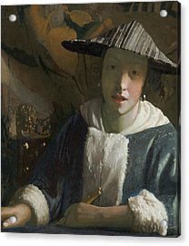 Girl With A Flute Acrylic Print by Attributed To Johannes Vermeer