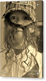 Girl With A Mustache 1 Acrylic Print by Sarah Goodbread