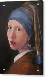 Girl With A Pearl Earring - Reproduction Acrylic Print by Lisa Konkol