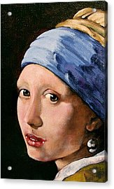 Girl With A Pearl Earring A Reproduction Of Vermeer Acrylic Print