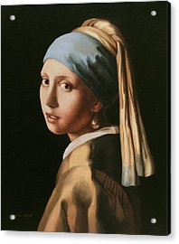 Girl With A Pearl Earring - After Vermeer Acrylic Print