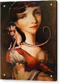 Girl With A Pet Monkey Acrylic Print