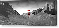 Girl With A Red Umbrella 2 Acrylic Print by Mike McGlothlen