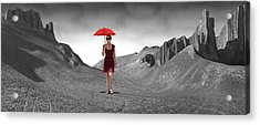 Girl With A Red Umbrella 3 Acrylic Print by Mike McGlothlen
