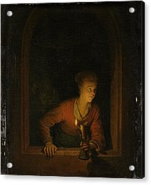 Girl With An Oil Lamp At A Window Acrylic Print by Gerard Dou